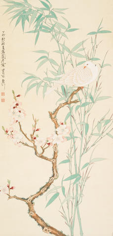 Attributed to Xie Zhiliu (1910-1997) Plum, Bamboo, and Bird , 1987