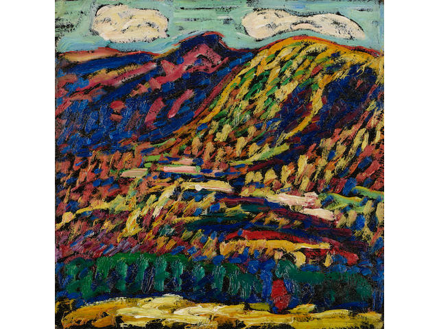 Marsden Hartley (1877-1943) Birch Grove, Autumn 12 x 12in (30.5 x 30.5cm) (Painted in 1910.)