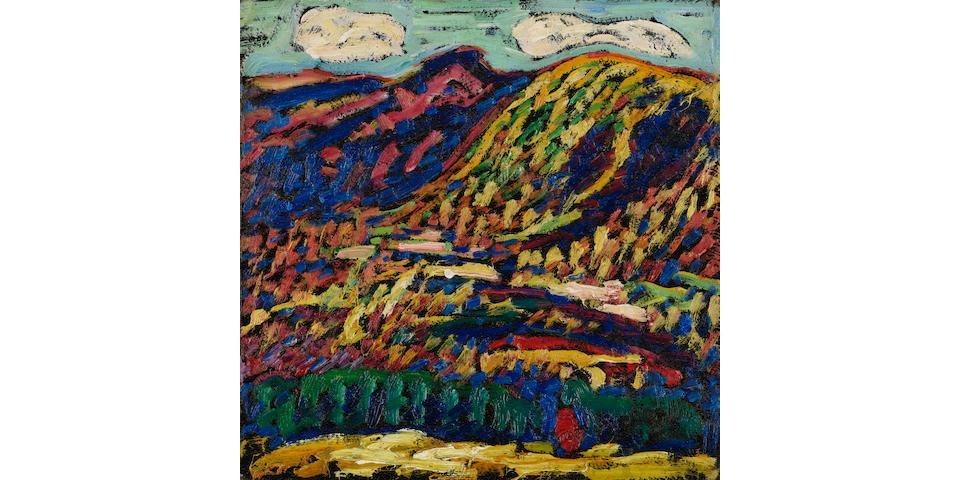 Marsden Hartley (1877-1943) Birch Grove, Autumn 12 x 12in (30.5 x 30.5cm) (Painted in 1910.)