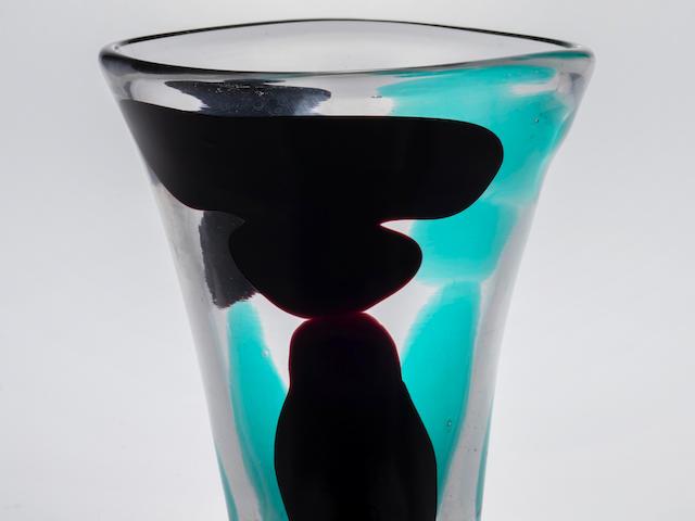 Fulvio Bianconi (1915-1996) Rare Con Macchie Vasecirca 1950model no. 4325, for Venini, internally decorated glass, acid etched stencil 'venini murano ITALIA'height 9 3/4in (24.8cm); diameter 8in (20.5cm)