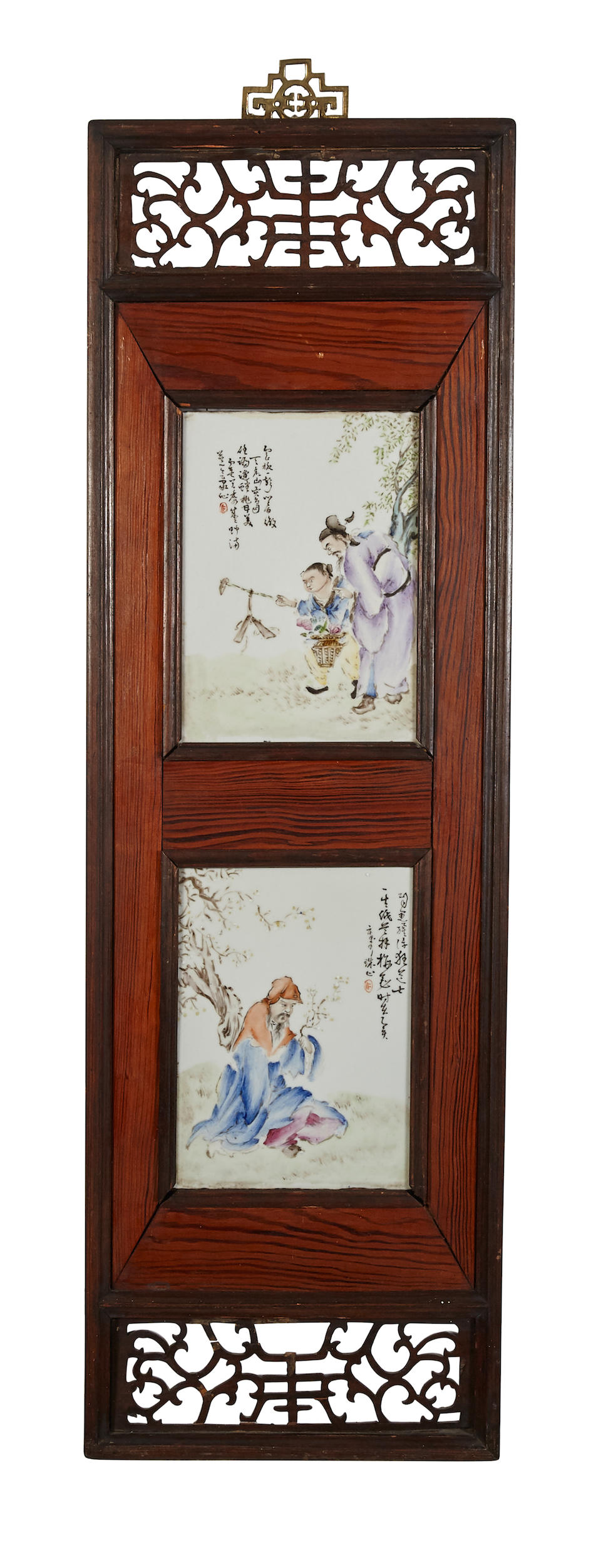 A group of eight polychrome enameled porcelain plaques Republic period (4)