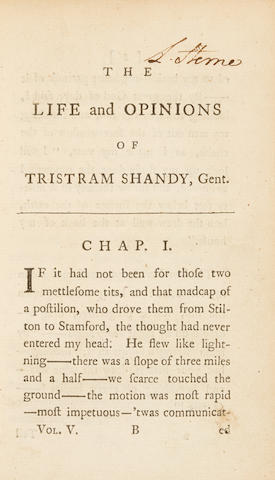 STERNE, LAURENCE. 1713-1768. The Life and Opinions of Tristram Shandy, Gentleman. [York: Printed by John Hinxman], 1760 (volumes I and II; London: Printed for R. and J. Dodsley, 1761 (volumes III and IV); London: Printed for T. Becket and P.A. Dehondt, 1762-1767 (volumes V-IX).
