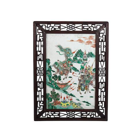 A famille verte enameled porcelain plaque Qing dynasty