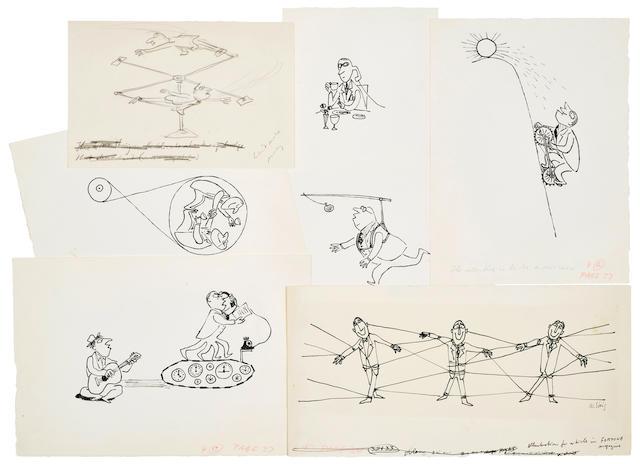"STEIG, WILLIAM. 1907-2003. 35 original drawings for Fortune, ""How Hard Do Executives Work?"""