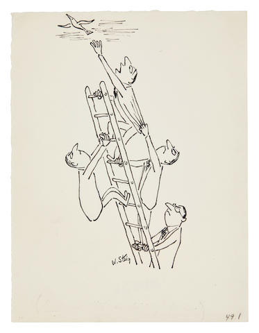 STEIG, WILLIAM. 1907-2003. Original illustration for Fortune, c. 1953, ink over pencil,