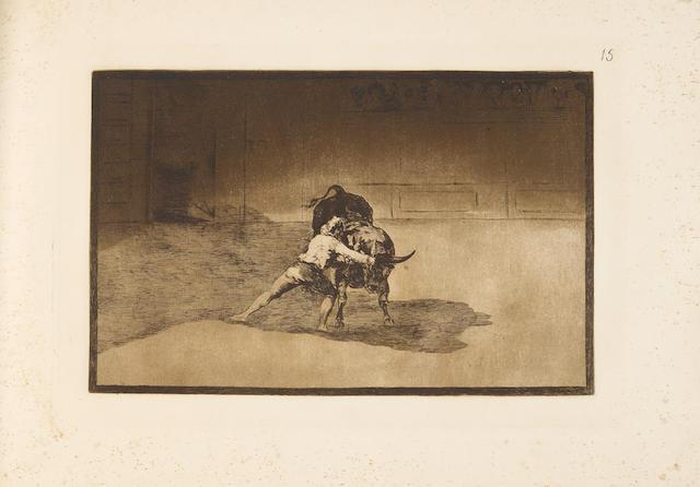 GOYA Y LUCIENTES, FRANCISCO JOSE DE. 1746-1828. [La tauromaquia] La taureaumachie. Recueil de quarante estampes inventees et gravees a l'eau-forte. Paris: Loizelet, [1876].