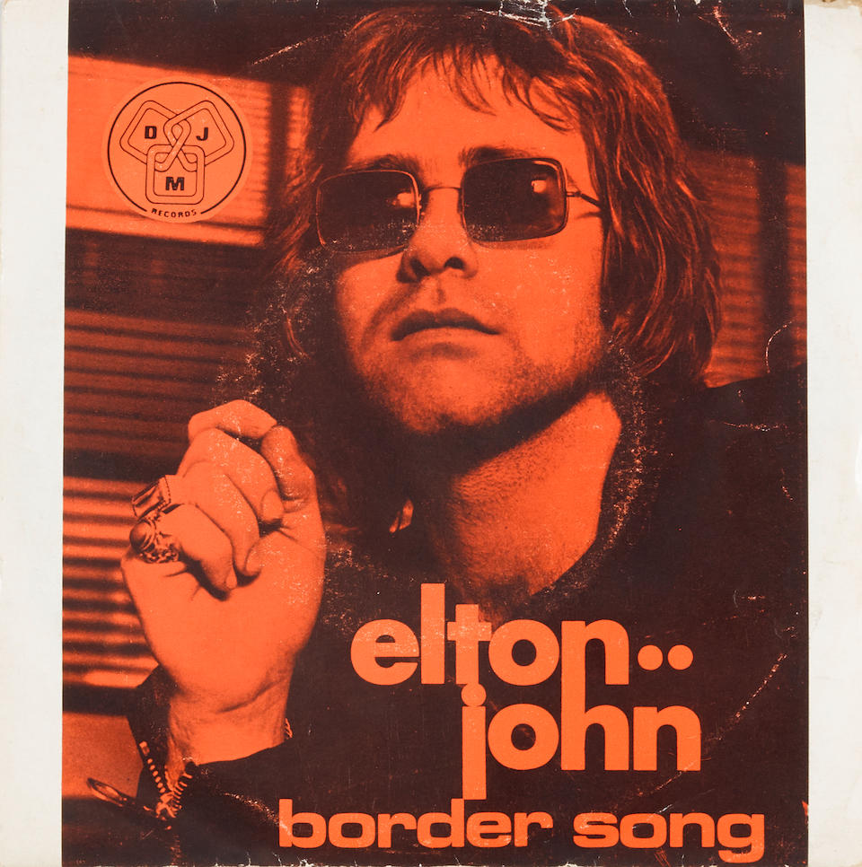 """Bernie Taupin's original lyrics to the early Elton John hit, """"The Border Song,"""" with annotations by Elton John"""