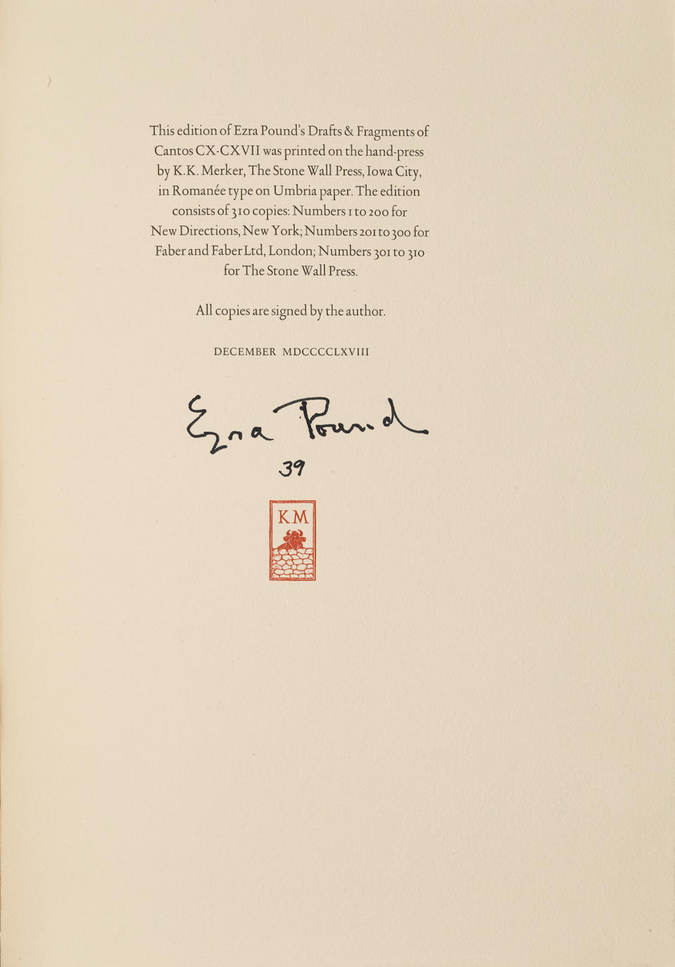 POUND, EZRA. 1885-1972. Drafts & Fragments of Cantos CX-CXVII. New York: New Directions at the Stone House Press, 1968.