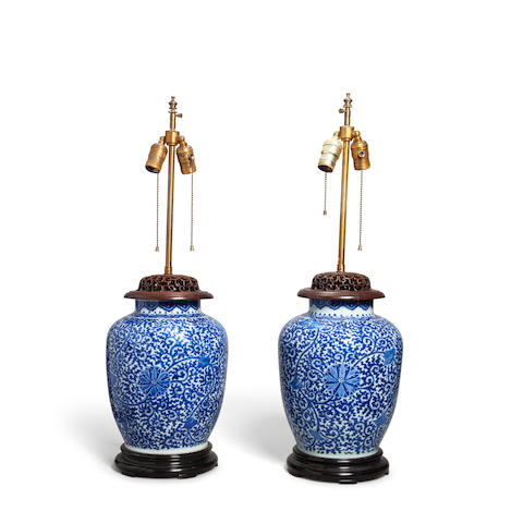 A pair of blue and white porcelain ovoid jars Late Qing/Republic period (2)