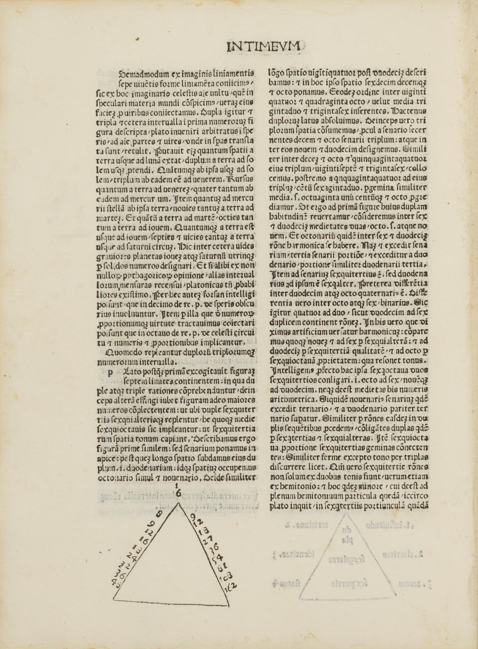 PLATO. 427?-347 B.C. Timaeus [AND] Critias [from Ficini's 1484 Opera]. Marsilius Ficinus, translator and commentary. [Florence: Laurentius (Francisci) de Alopa, Venetus, for Francesco Berlinghieri and Philippus Valor, 1484].