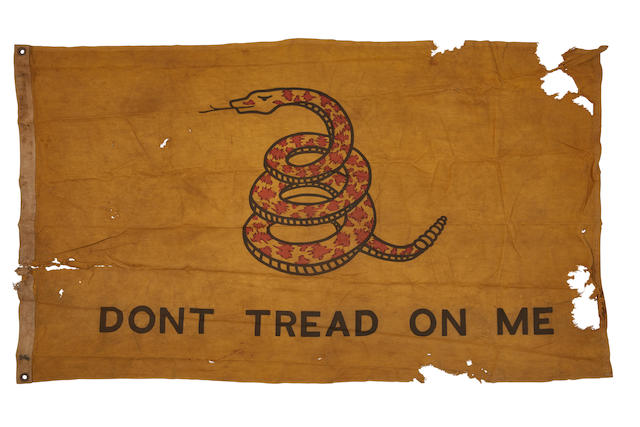"UNITED STATES NAVY: GADSDEN ""DONT TREAD ON ME"" FLAG. [Pacific Theater: 1942-45.]"