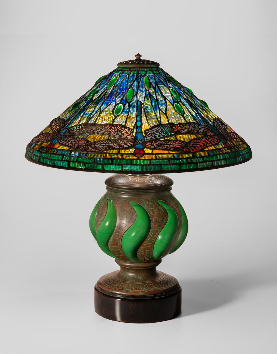 Tiffany Studios (1899-1930) Early Dragonfly Table Lamp1900-01 leaded glass, patinated bronze, blown glass, interior of base stamped '25924'height 24 1/2in (62cm); diameter of shade 20 1/2in (52cm)