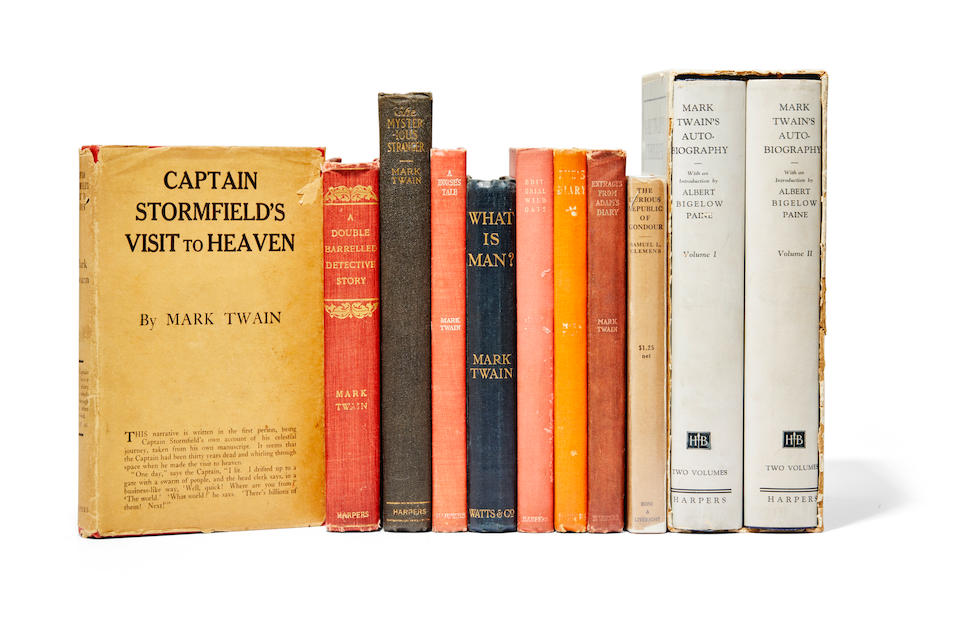 "CLEMENS, SAMUEL LANGHORNE (""MARK TWAIN""). 1835-1910. Later Works of Mark Twain, in original cloth, 10 titles, 3 with dust-jackets:"