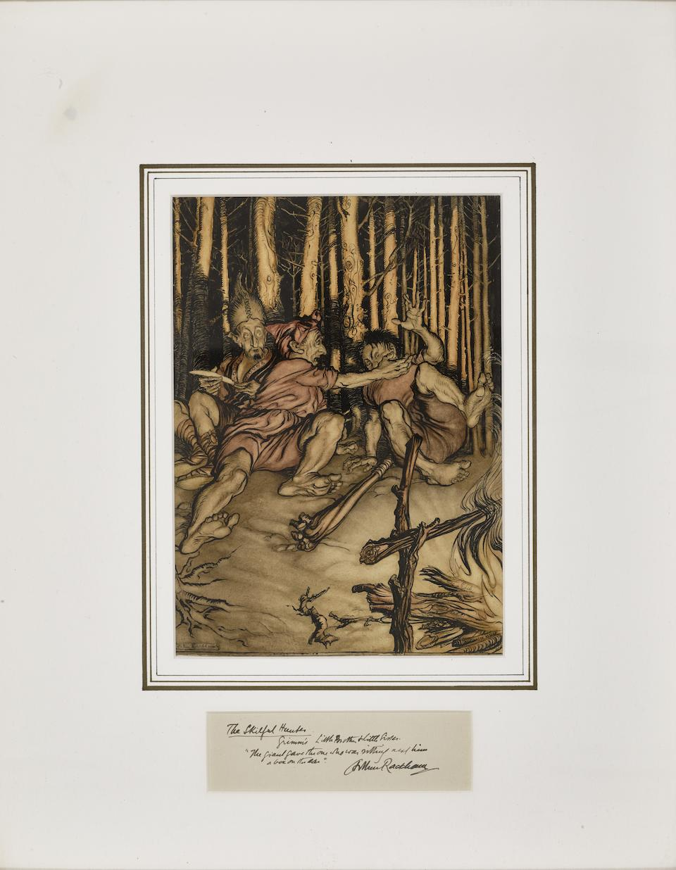 """RACKHAM, ARTHUR. 1867-1939. Original watercolor, """"'The Skilful Hunter' The giant gave the one who was sitting next him a box on the ear,"""""""