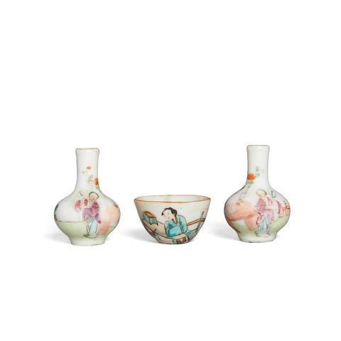 A group of three miniature famille rose enameled  containers (3)