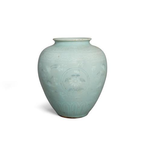 A celadon glazed jar with slip decoration Goryeo dynasty style
