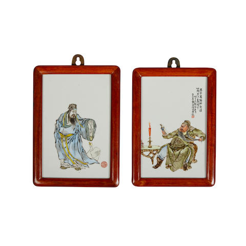 Two small polychrome enameled porcelain plaques Republic period (2)