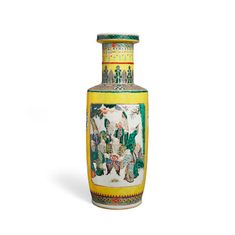 A Yellow ground famille verte rouleau vase 19th century