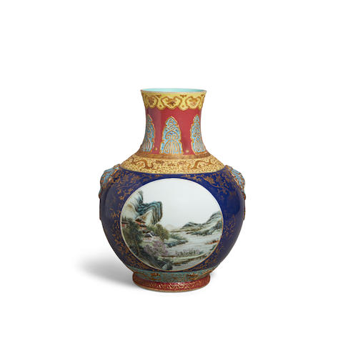 A molded polychrome enamel vase Qianlong mark, Republic period