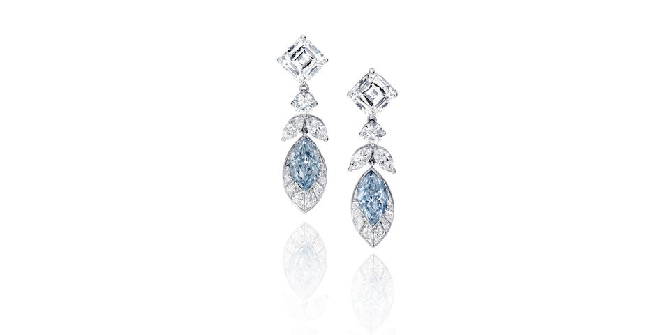 An Important Pair Of Fancy Colored Blue Diamond Earrings Highlights Bonhams New York Jewels Sale