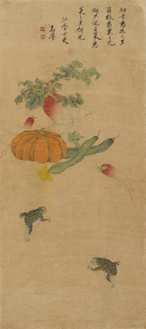 Attributed to Ma Quan (18th century)  Vegetables and Toads