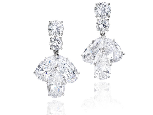 An impressive pair of diamond earrings, Cartier