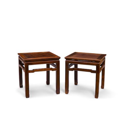 A pair of hongmu stools, fangdeng Late Qing/Republic period (2)