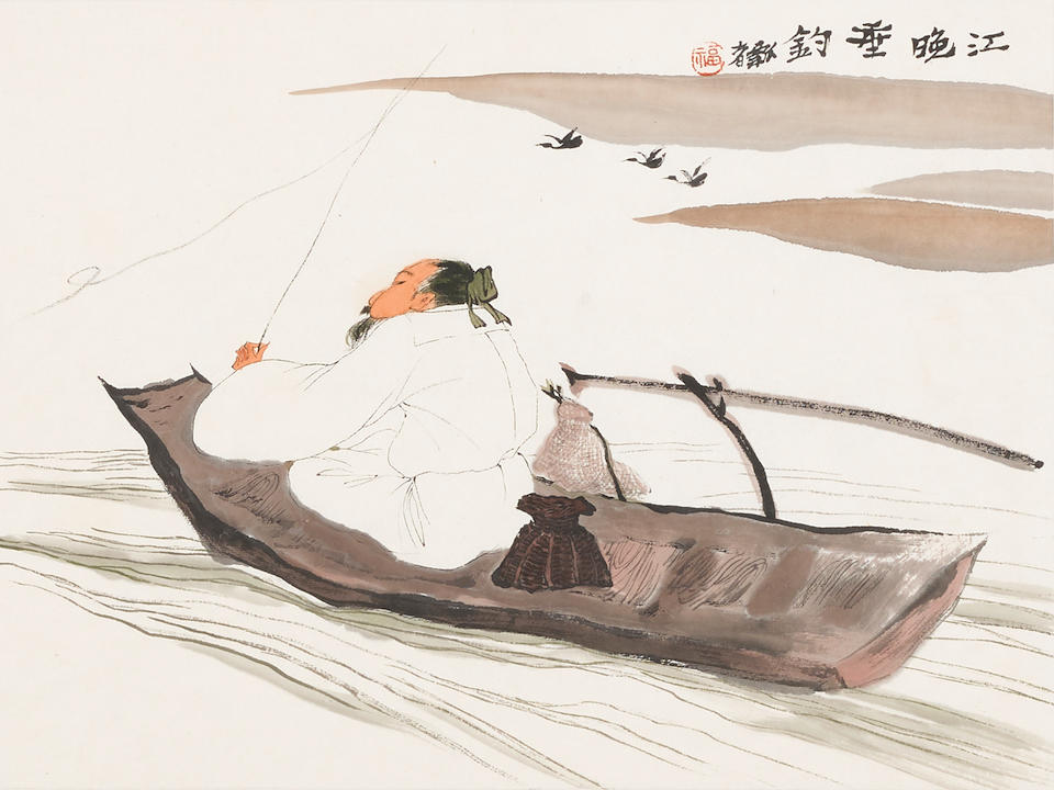 Jia Youfu (b. 1942)  Three paintings of Scholars