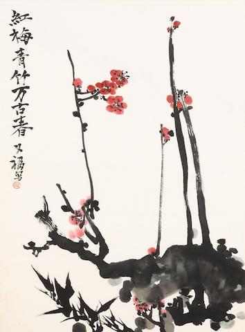 Jia Youfu (b. 1942) and Wu Yefu (b. 1926)  Two paintings of Plum Blossoms