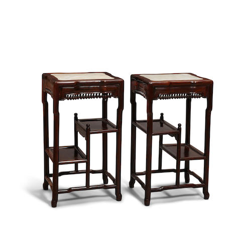 A pair of hardwood marble top side tables  Late Qing/Republic period (2)