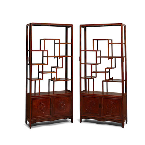 A pair of open-shelf hardwood cabinets 20th century (2)