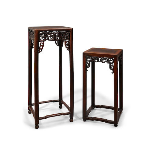 Two hardwood pedestal tables Late Qing/Republic period (2)