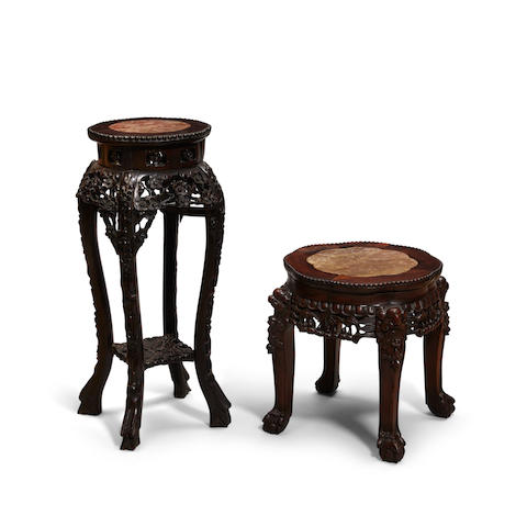 Two carved hardwood marble top tables Late Qing/Republic period (2)
