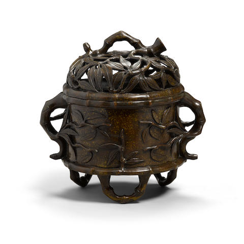 A bronze 'bamboo' incense burner and cover Xuande mark, 19th century (2)