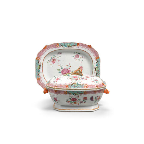 A famille rose export covered tureen and underdish 19th century (3)