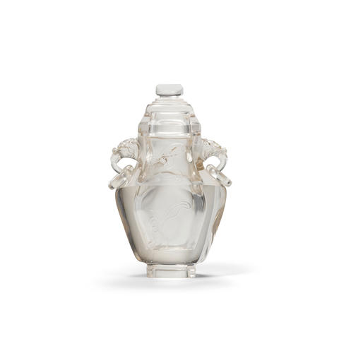 A rock crystal vase and cover 19th Century (2)
