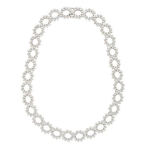 An open link diamond necklace
