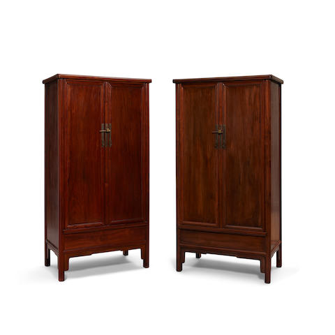 A pair of Hongmu tapered cabinets   20th century (2)