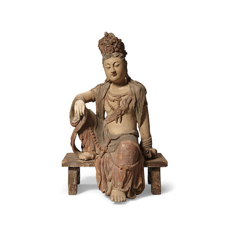 A carved wood seated Guanyin (2)