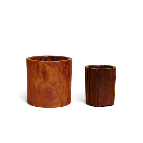 Two hardwood brush pots (2)