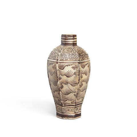 A Jizhou Brown-Painted Stoneware Wave Vase, Meiping Probably Yuan/early Ming dynasty