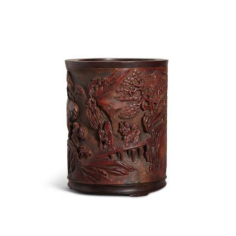 A Hardwood-Mounted Bamboo Brush Pot Qing dynasty, signed Wang Yuangu