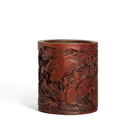 An Inscribed Carved Bamboo Brush Pot Signed Wang Yun and dated gengwu year (1750 or 1810)