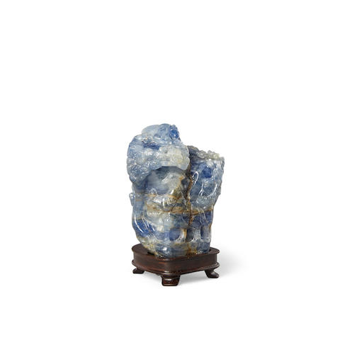 A Sapphire-matrix carving of a miniature Mountain Group Qing dynasty