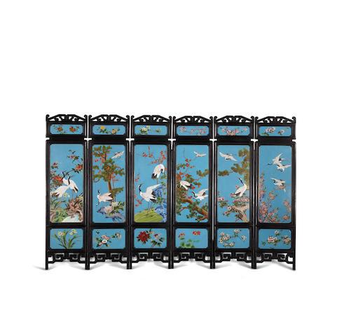 A cloisonné enamel six-panel screen 20th century