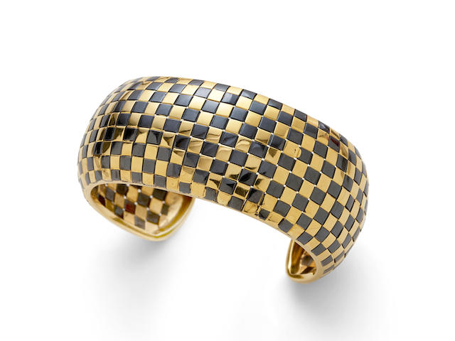 an 18k gold and blackened gold cuff, Italy