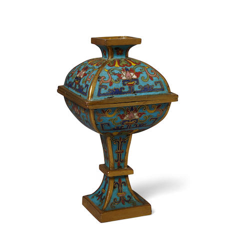 A cloisonné square sectioned vase and cover, fang dou 18th century (2)