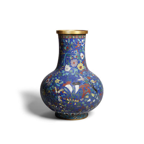 A blue ground cloisonné enamel vase Late Qing dynasty