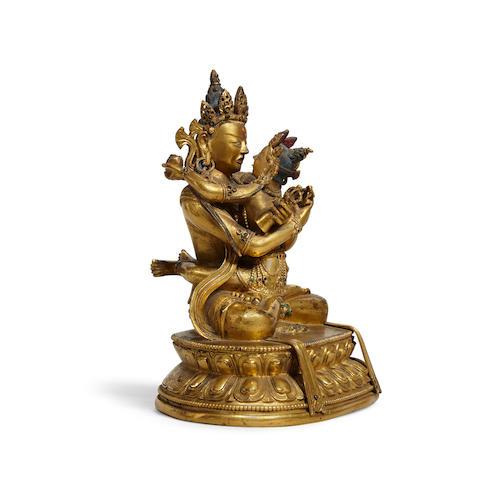 A gilt copper alloy figure of Vajradhara and Prajnaparamita