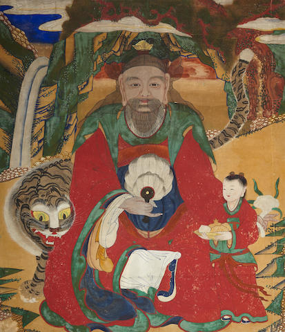 A painting of a mountain deity, Sanshin                                         Joseon dynasty, 19th century